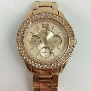Fossil Stella Rose Gold Pave Ladies Watch ES3890